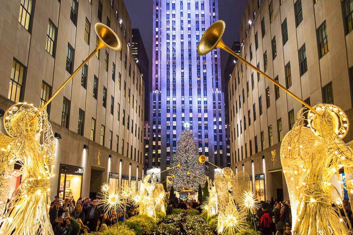 Immagine del Rockefeller Center a Natale.