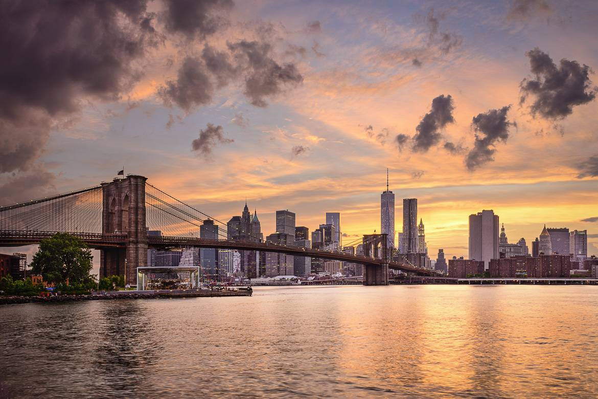 ponte di Brooklyn Manhattan tramonto