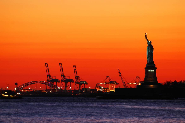 Tramonto dal traghetto di Staten Island