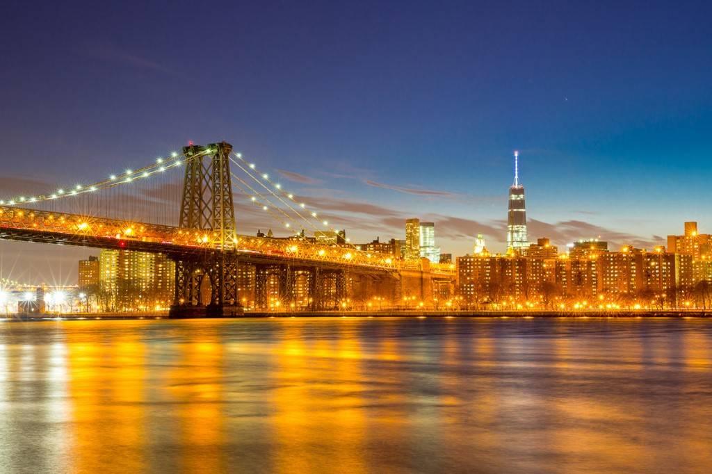 Panorama del fiume a sud verso il Williamsburg Bridge e il One World Trade Center.