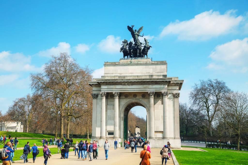 Immagine del Marble Arch all'estremità di nord-est di Hyde Park a Londra