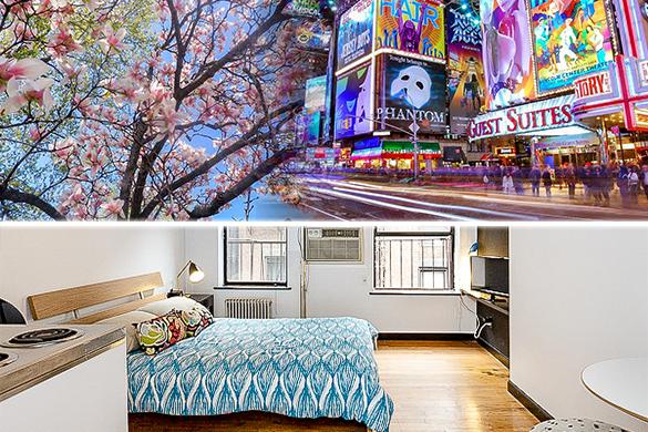 Foto del letto e delle finesre dell'appartamento monocale NY-14101