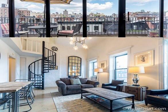 foto del salotto dell'appartamento duplex NY-16947 e del terrazzo con vista sull'Upper West Side