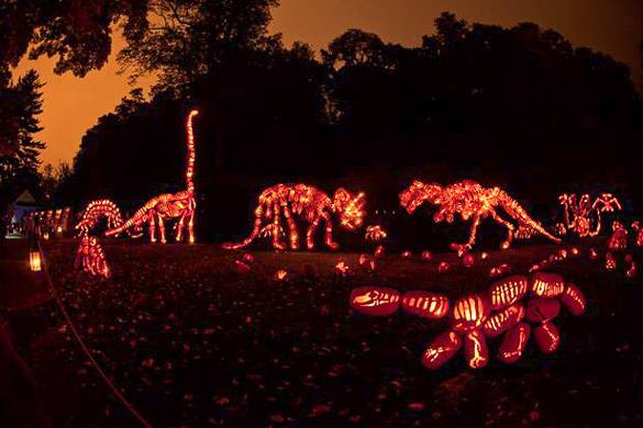 Immagine di dinosauri costruiti con Jack O' Lanterns