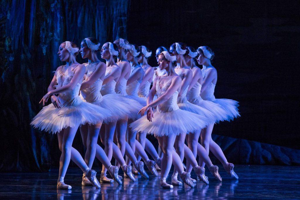 Immagine di ballerine classiche in una rappresentazione del Lago dei Cigni.