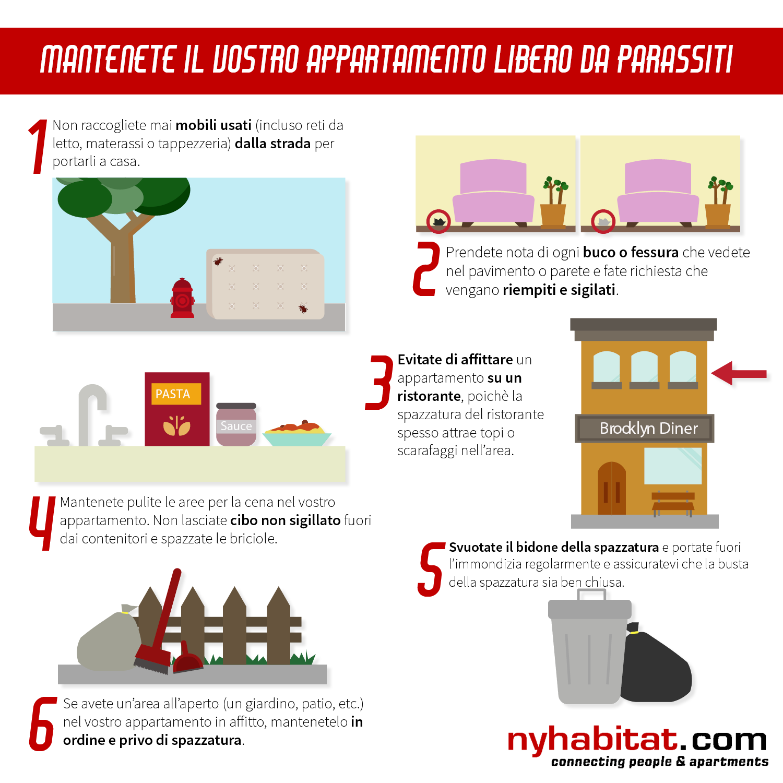 Infografica di New York Habitat che mostra 6 misure preventive per tenere lontani dal vostro appartamento topi, scarafaggi e cimici.