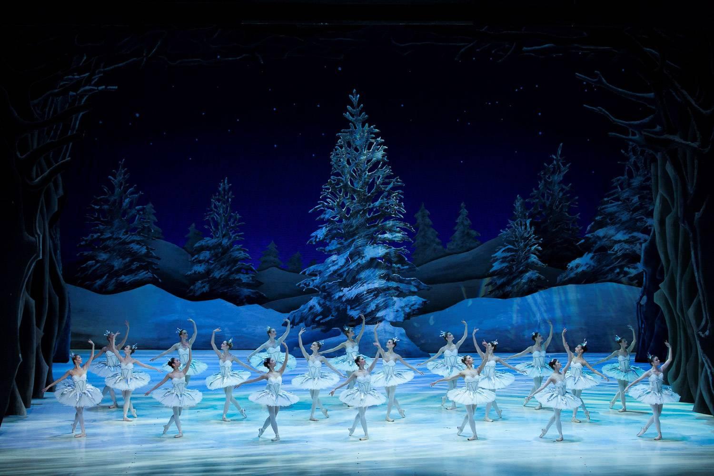 Immagine di ballerine che si muovono sulle note dello Schiaccianoci al London Coliseum.