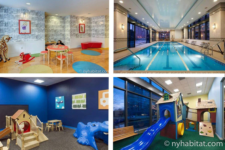 Collage di immagini di stanze dei giochi e piscina al coperto in appartamenti di edifici di New York