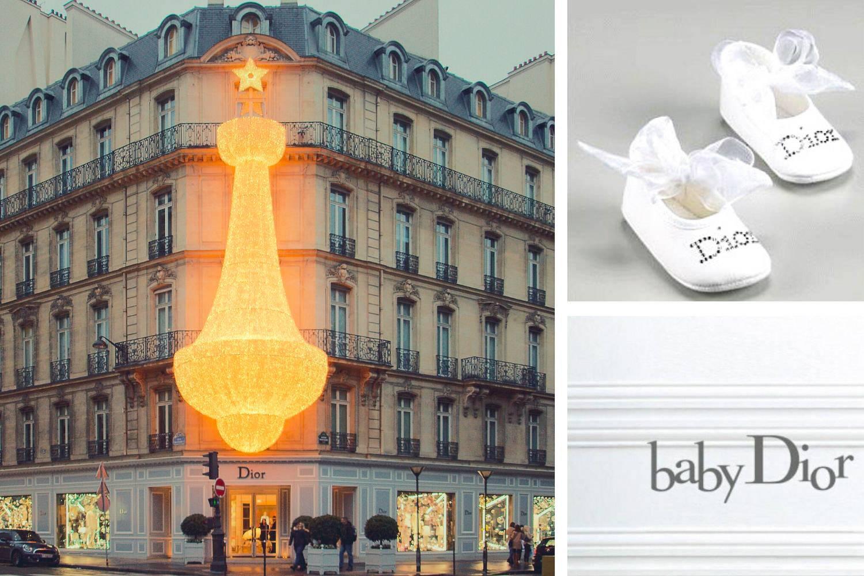 """Collage di immagini della facciata del Dior shop a Parigi, un logo Baby dior e scarpine bianche da bambino con un fiocco bianco e """"Dior"""" scritto con gli strass"""