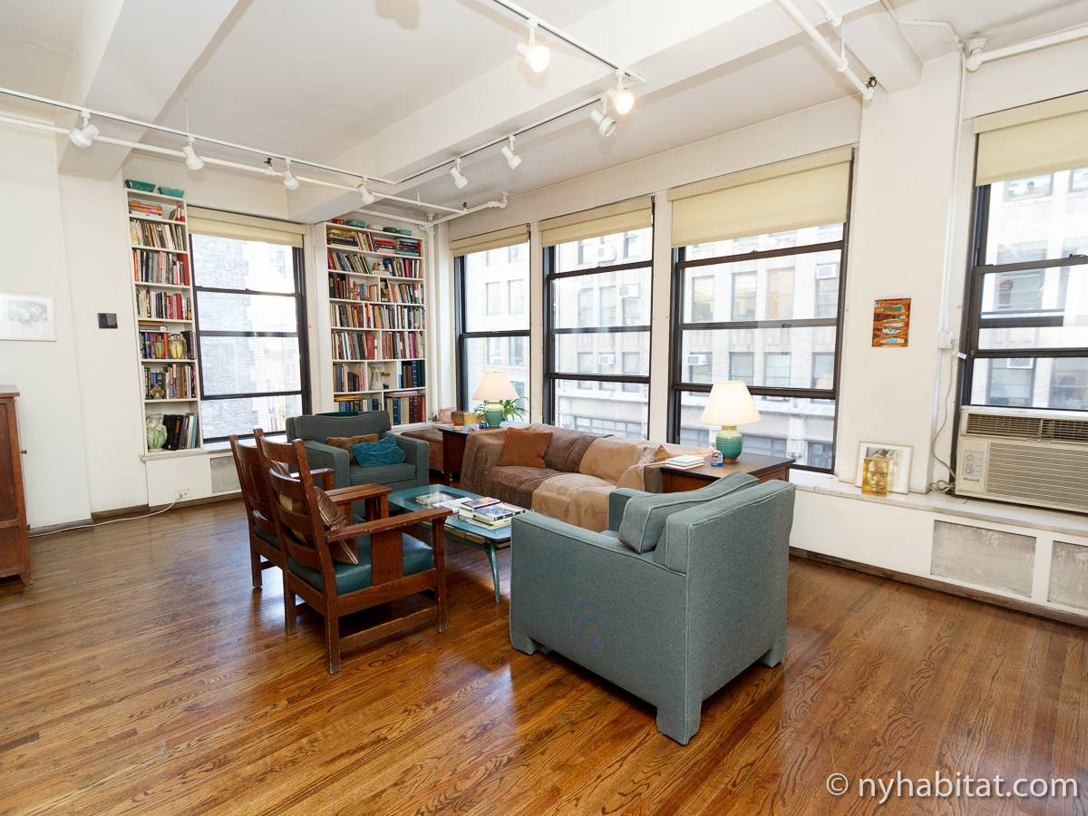 extraordinary new york loft living room | New York Apartment: 2 Bedroom Loft Apartment Rental in ...