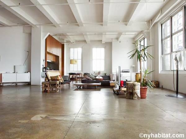 extraordinary new york loft living room | New York Apartment: Alcove Studio Loft Apartment Rental in ...