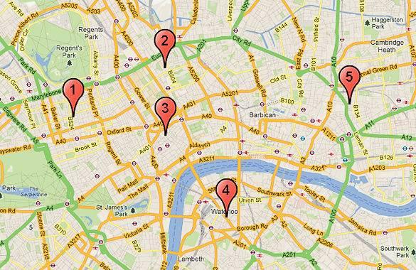 Un mapa de nuestra lista de los mejores 5 lugares de fish & chips en Londres