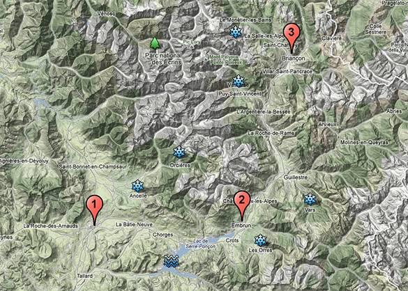 Mapa que muestra los lugares mencionados en este artículo sobre el sur de los Alpes franceses en otoño e invierno