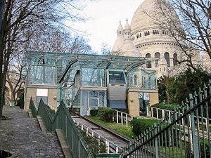 Imagen del funicular de Montmartre y el Sacré-Cœur