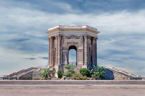 Imagen del Chateau de Eau en el  paseo Peyrou en Montpellier