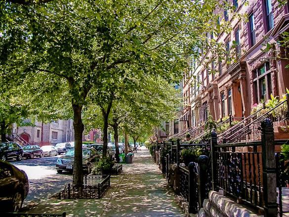 Imagen de edificios brownstone en Bedford-Stuyvesant, Brooklyn
