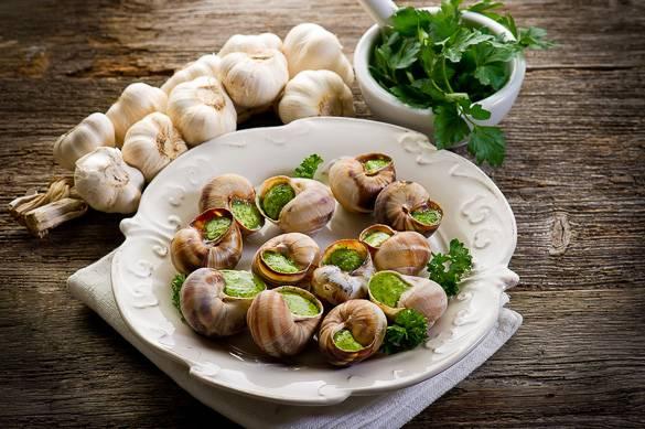 Foto de caracoles franceses, o escargots