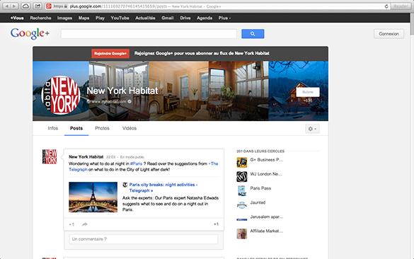 Captura de pantalla en la página de Google+ de New York Habitat