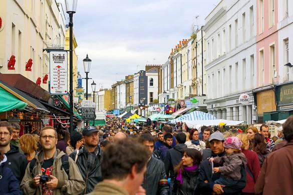 Fotografía del famoso mercado Portobello Road Market de Notting Hill