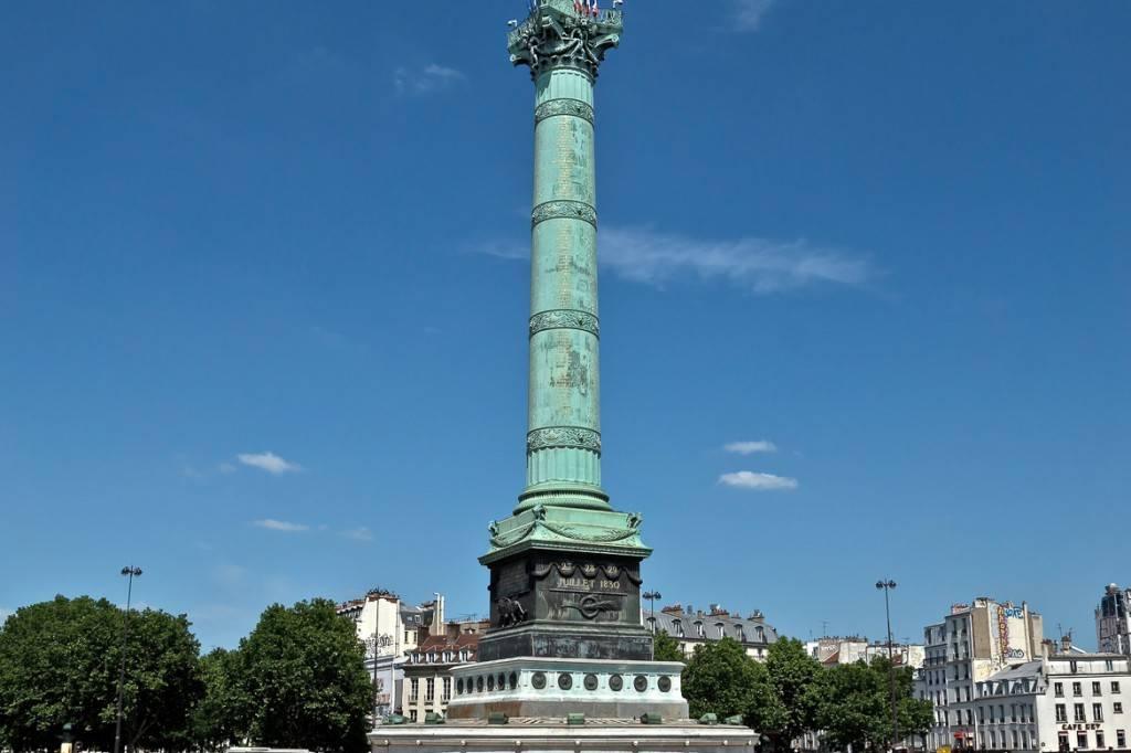 Imagen de la Columna de Julio en la Plaza de la Bastilla.