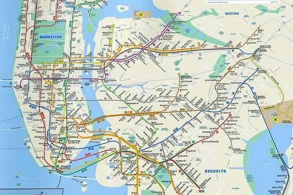 Imagen del mapa oficial del metro de Nueva York de la MTA (Autoridad Metropolitana del Transporte de Nueva York)