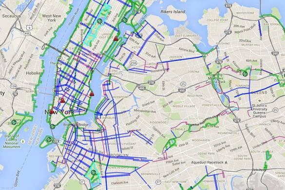 Imagen de un mapa de caminos y carriles bici de Nueva York
