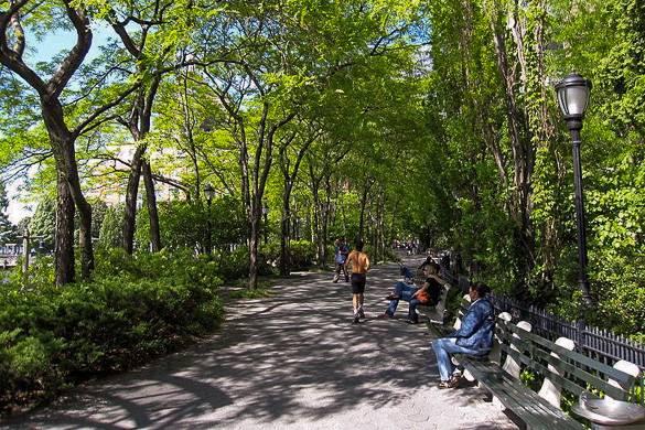 Fotografía de una persona trotando y otras sentadas en bancos bajo los árboles de Battery Park