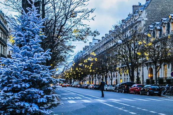 Imagen de la calle de París con las luces de Navidad amarillas y el árbol blanco