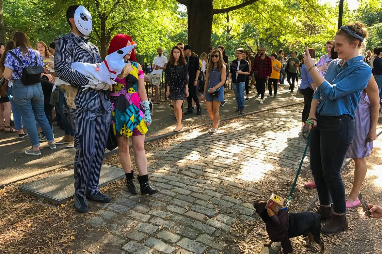 Imagen de una pareja con mascotas disfrazadas por Halloween en el Tompkins Square Park