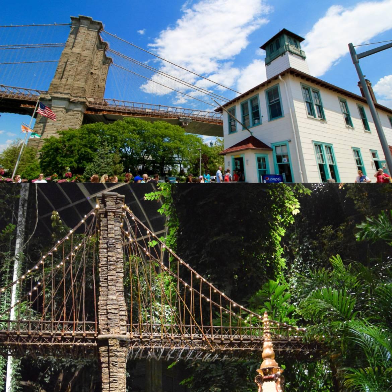 Imagen de una réplica en miniatura del puente de Brooklyn e imagen del puente de Brooklyn sobre el East River.