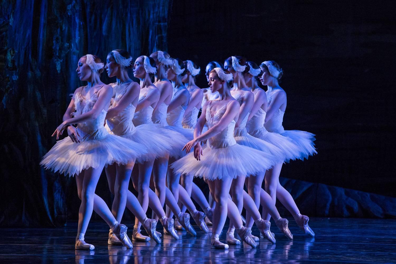 Imagen de bailarines de ballet en una producción del Lago de los Cisnes.