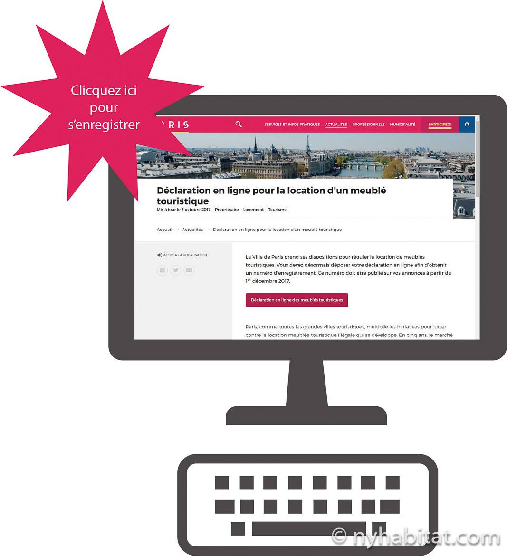 Imagen de un fondo de escritorio que presenta la sección de declaración en línea de la página web del Ayuntamiento de París para propiedades de alquiler de vacaciones