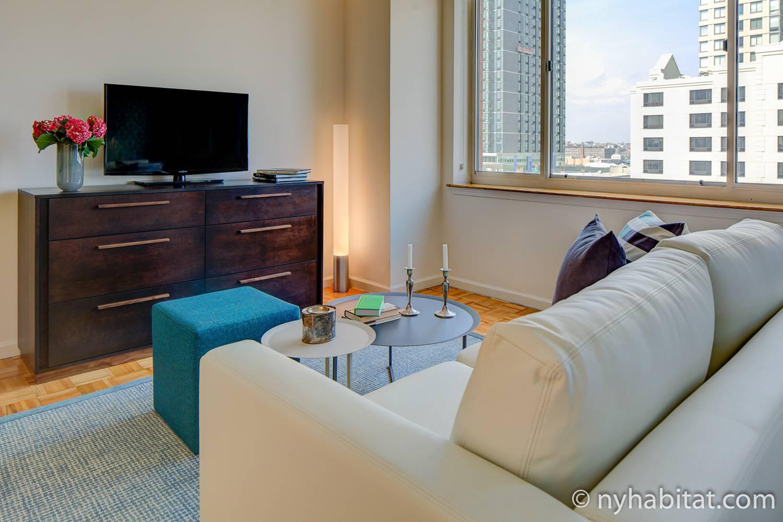 Imagen del salón del NY-17837 con un sofá y una televisión.