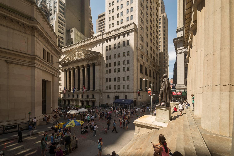 Imagen del edificio del Nueva York Stock Exchange.