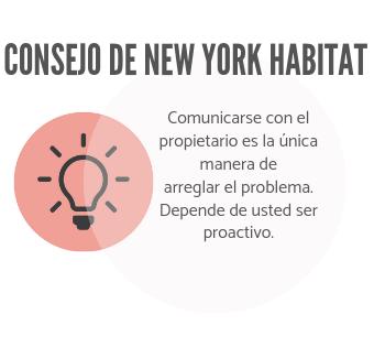 Infografía de New York Habitat que anima a los inquilinos a que contacten con el dueño para asegurar una reparación.