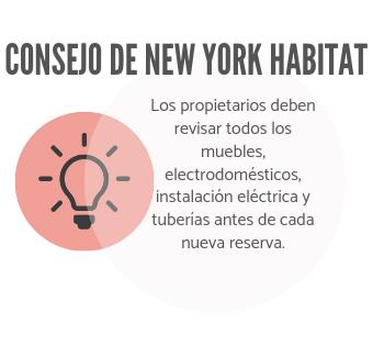 La infografía de New York Habitat anima a los propietarios a inspeccionar el alojamiento antes de hacer la reserva.