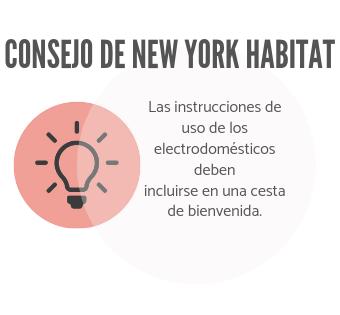 La infografía de New York Habitat aconseja a los propietarios que incluyan las instrucciones de los electrodomésticos en su cesta de bienvenida.