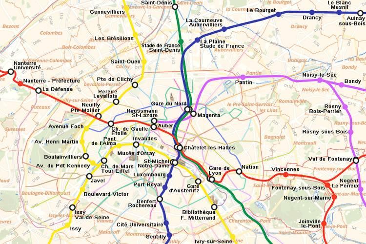 Mapa del sistema ferroviario de cercanías RER de París.