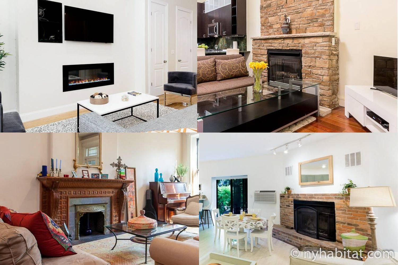 Collage de cuatro apartamentos con chimeneas en el salón
