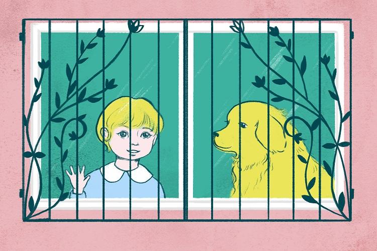 Ilustración de un niño pequeño y un perro mirando por una ventana con un protector.
