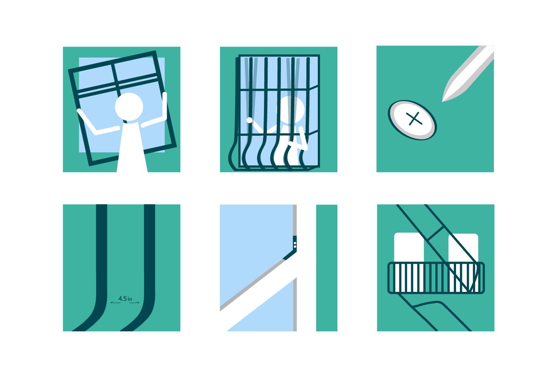 Infografía que detalla algunas evaluaciones básicas que los inquilinos de Nueva York pueden llevar a cabo en los protectores de ventanas de sus apartamentos.