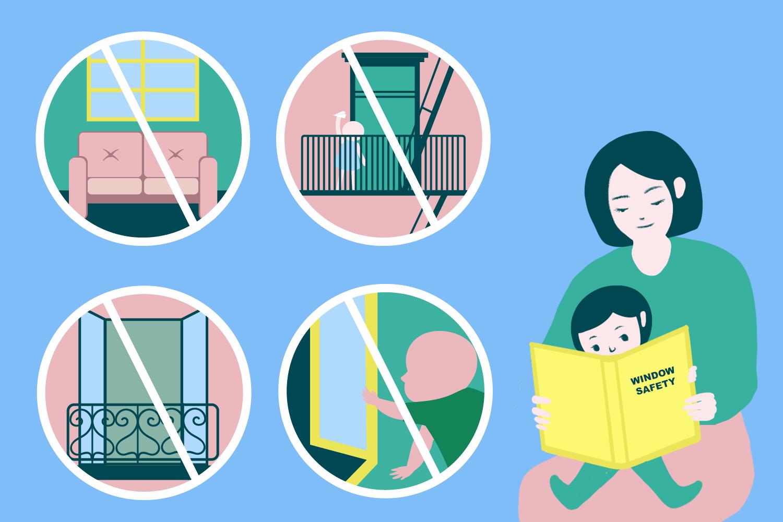 Infografía de una madre enseñando a su hijo varios consejos de seguridad para las ventanas, los balcones y las salidas de incendios en Nueva York.
